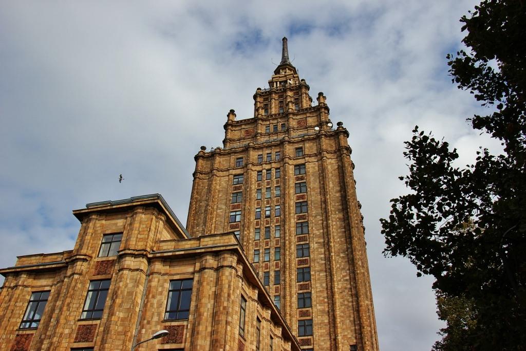 The Latvian Academy of Sciences building, nicknamed Stalin's Birthday Cake, in Riga, Latvia