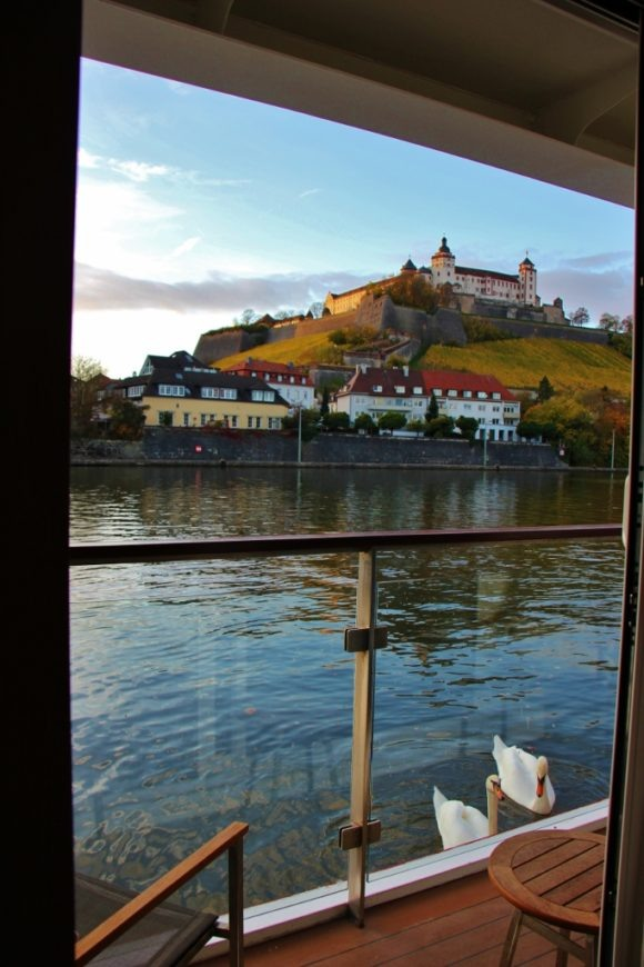 View of Marienberg Fortress from Veranda Stateroom on Viking Cruise