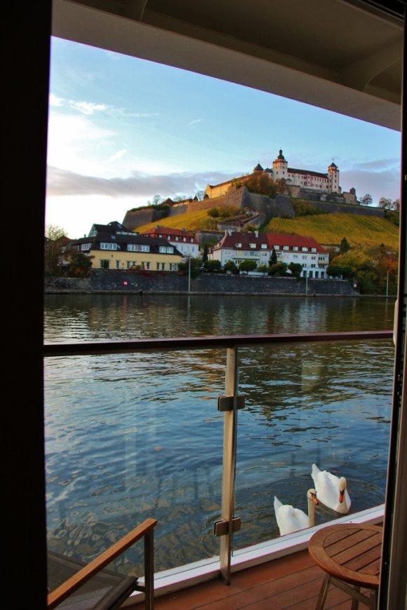 View of Marienberg Fortress from Veranda Stateroom on Viking Cruise