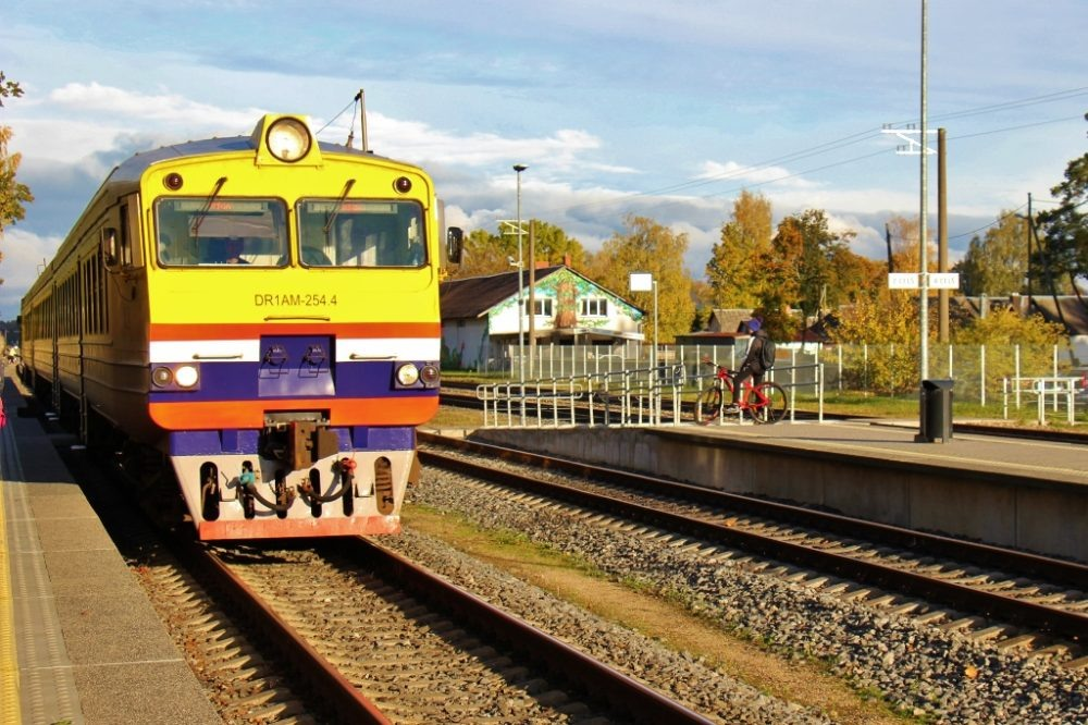 Riga to Sigulda Train at station in Latvia