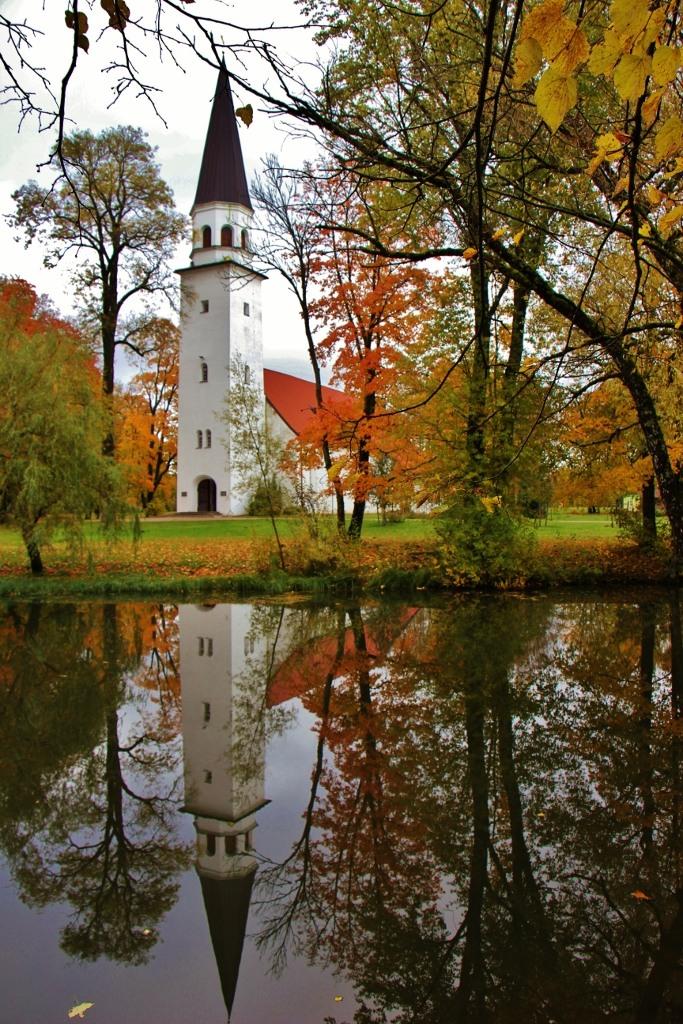 Sigulda Lutheran Church in autumn in Sigulda, Latvia