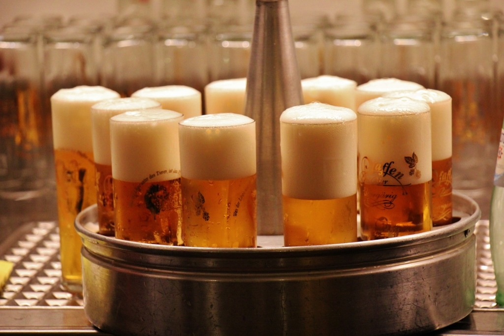 Stange glasses and tray, Kolsch Beer in Cologne, Germany brew house
