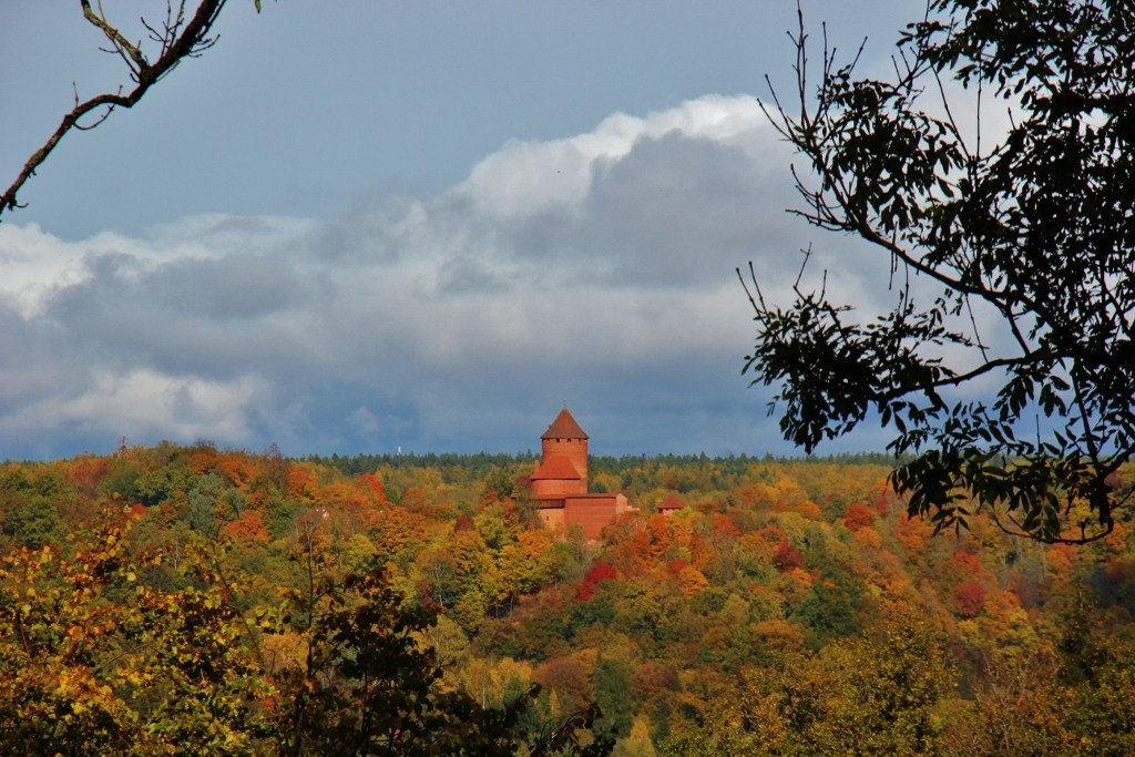 View of Turaida Castle from cablecar station in Sigulda, Latvia