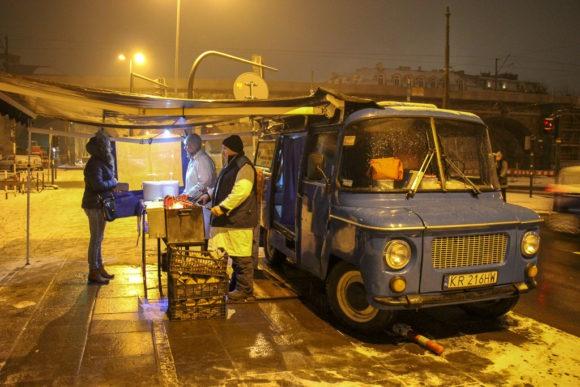 Late night sausage food truck, Kielbaski I Niebieskiej Nyski, in Krakow, Poland