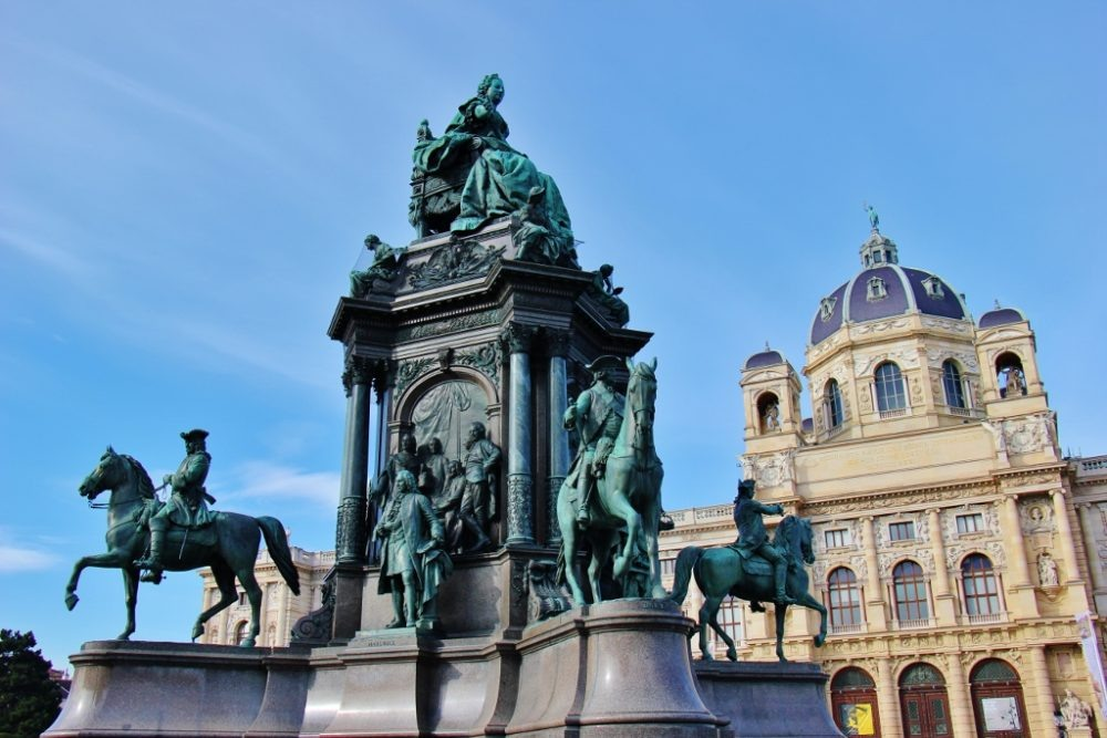 Empress Maria Theresa Monument on Maria-Theresien Platz in Museumsquartier in Vienna, Austria