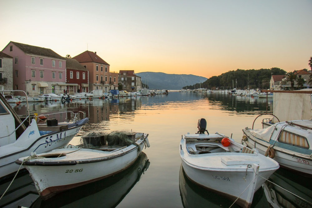Sunset on Stari Grad Marina on Hvar Island, Croatia