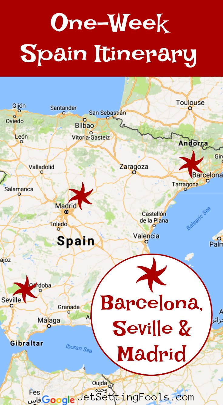 One Week Spain Itinerary Barcelona Seville Madrid by JetSettingFools.com