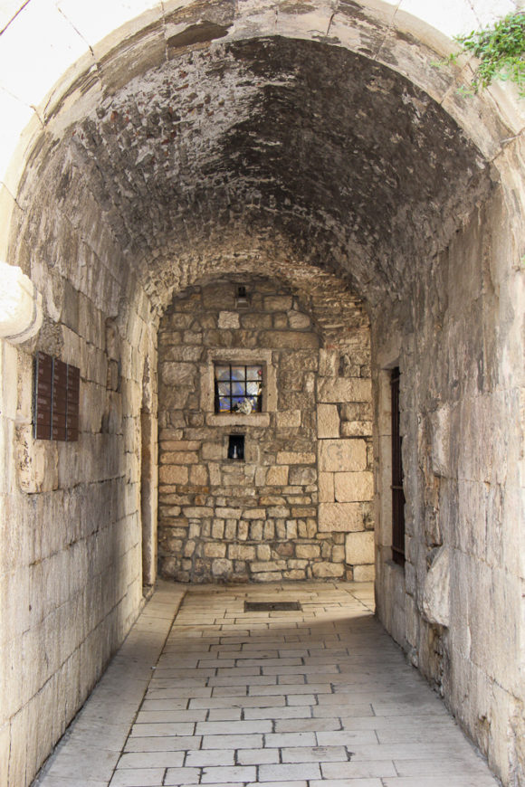 Arched laneway in Diocletian's Palace in Split, Croatia