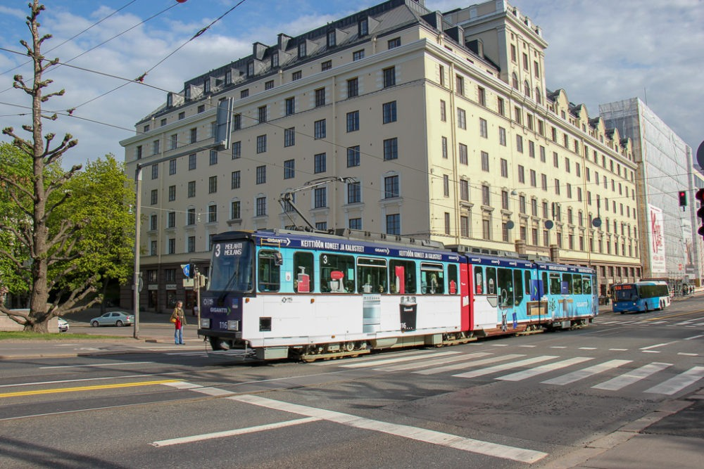 Tram 3 in Helsinki, Finland city center