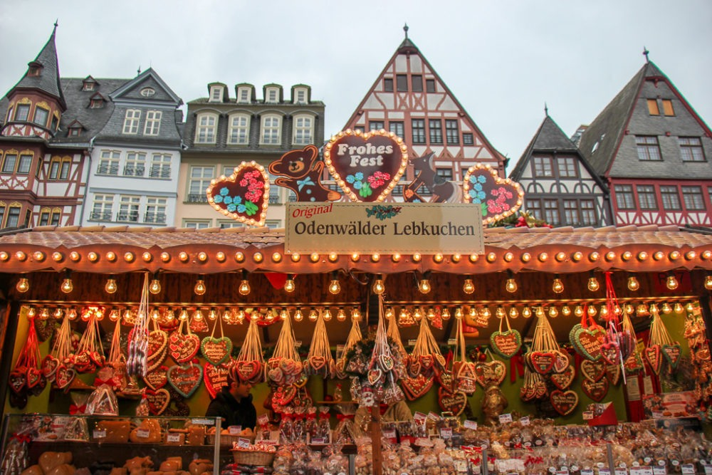 Gingerbread heart Lebkuchen cookies for sale at Frankfurt Christmas Market