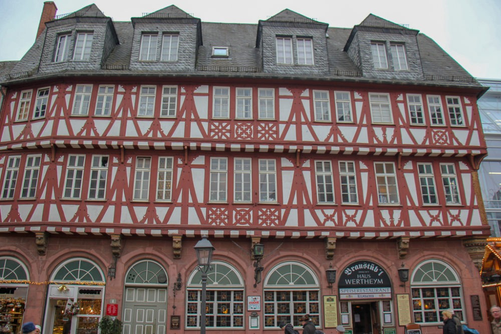 Original half-timber house, haus Wertheym, in Old Town Frankfurt, Germany