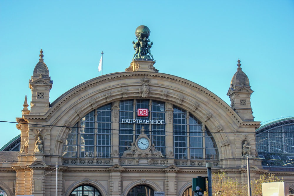 The Hauptbahnhof main train station in Frankfurt, Germany
