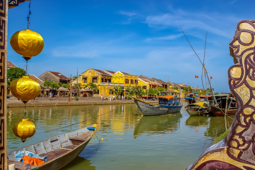 Historic Old Town and river boats in Hoi An, Vietnam