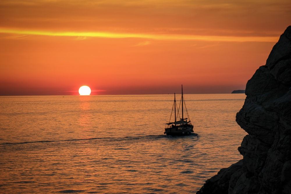 Sunset from Buza Bar in Dubrovnik, Croatia