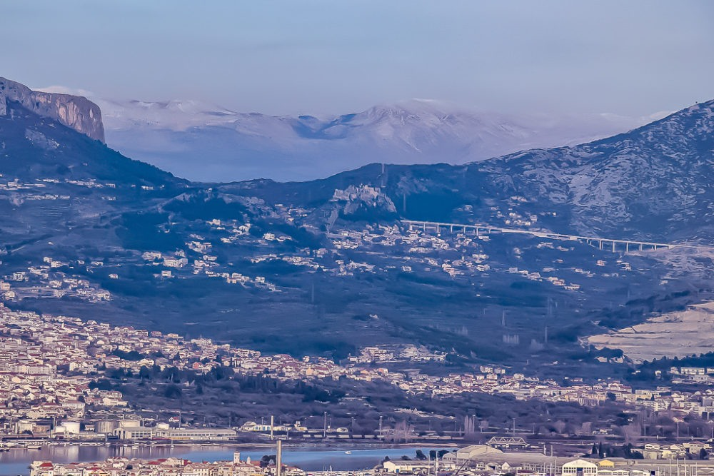 Distant view of Klis Fortress in Split, Croatia