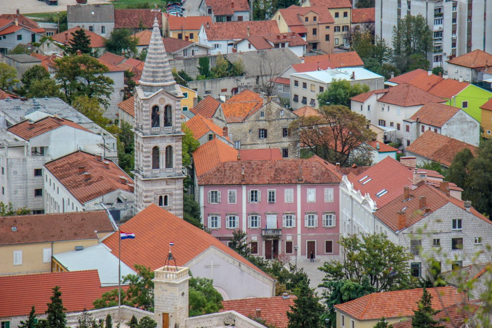 View of Sinj, Croatia from Old Town Hilltop