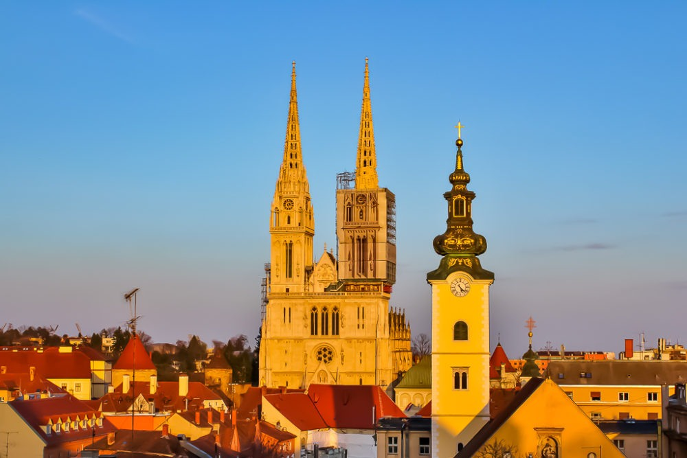 View of Cathedral from Gradec Plateau in Zagreb, Croatia