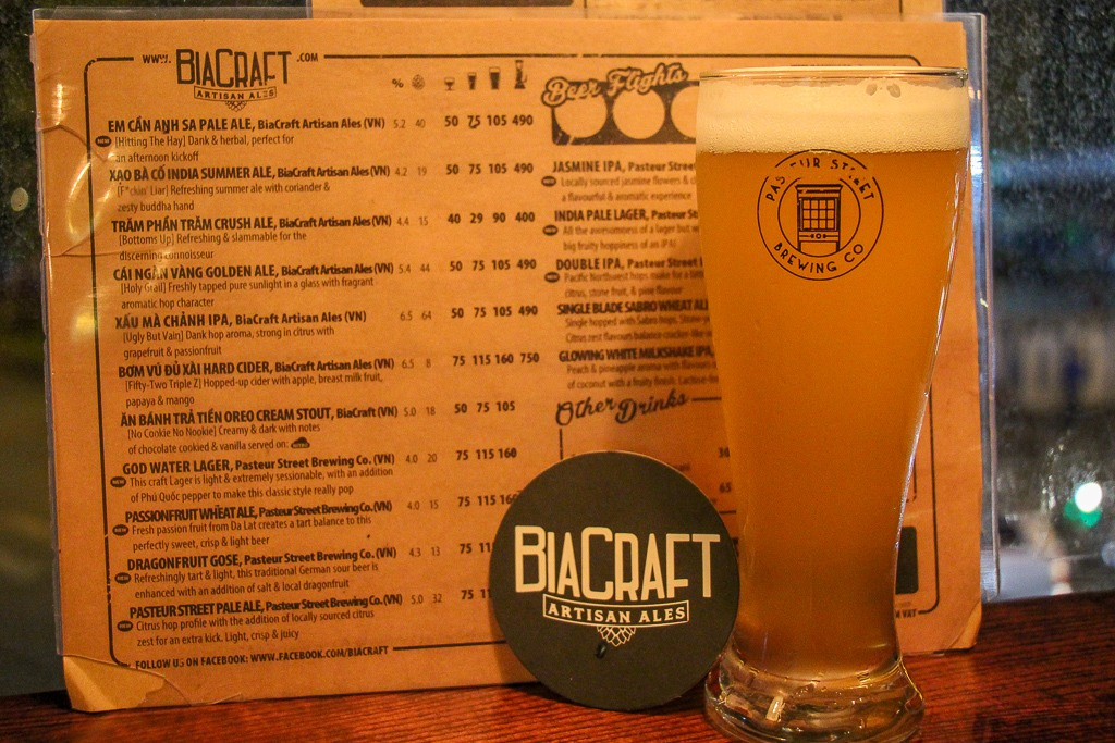 Bia Craft Beer Bar Menu,Bia Craft, Saigon, HCMC, Vietnam