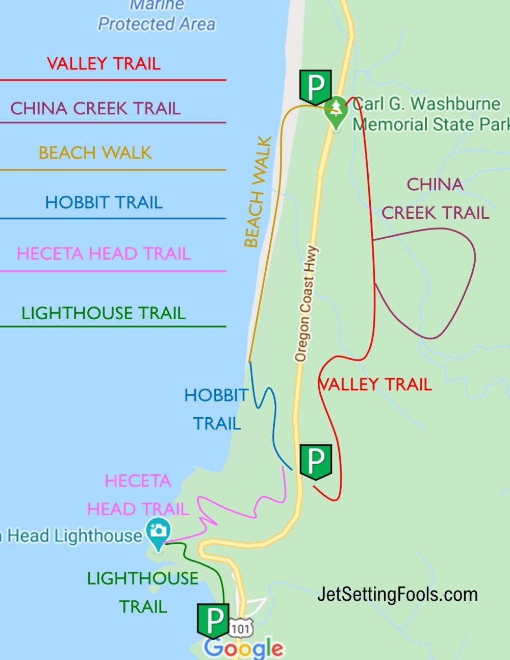 Florence Hikes at Heceta Head MAP