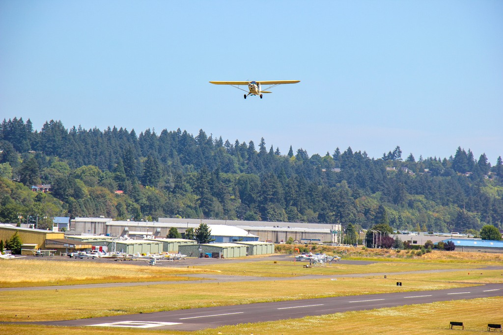 Plane taking off from Pearson Field, Vancouver, WA
